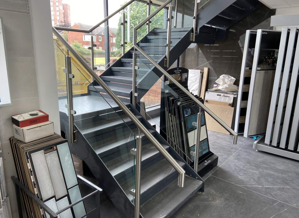Feature steel staircase stainless steel and glass balustrade