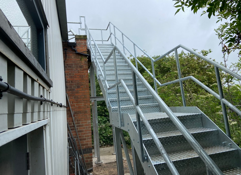 Fire escape and Kee Klamp handrail